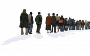People queuing in a line