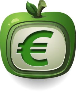 Green Apple with Euro Sign in the middle